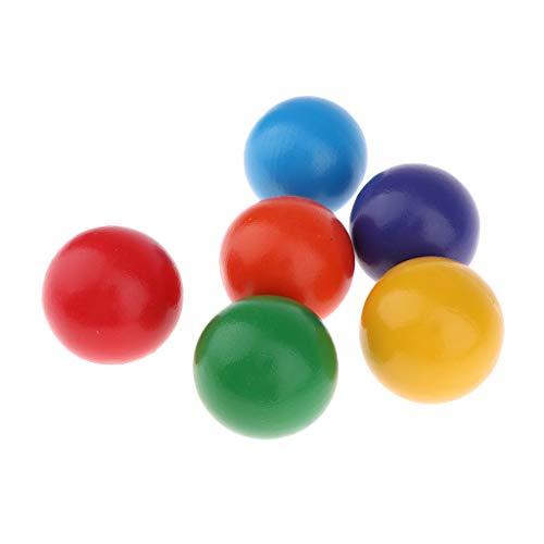 MagiDeal 6 x Holzkugeln Regenbogen, Regenbogen Bälle, Kinder Pädagogisches Lernspielzeug Holzspielzueg, Durchmesser: Ca. 4,5 cm