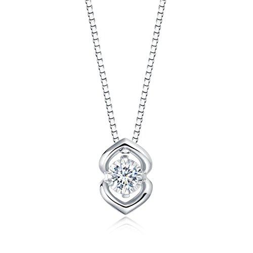 Epinki 18K Gold Damen Halskette 0.14CT Diamant Damenkette Rund Diamant Kette für Hochzeit