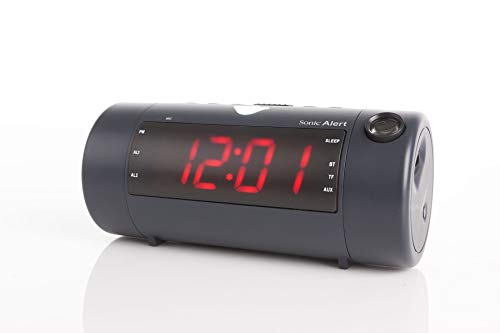 Sonic Alert Sonic Blast Super Loud Projection Alarm Clock with Bluetooth Speaker Black - SB700W   High Definition Projector Time Display   Wake On-Time
