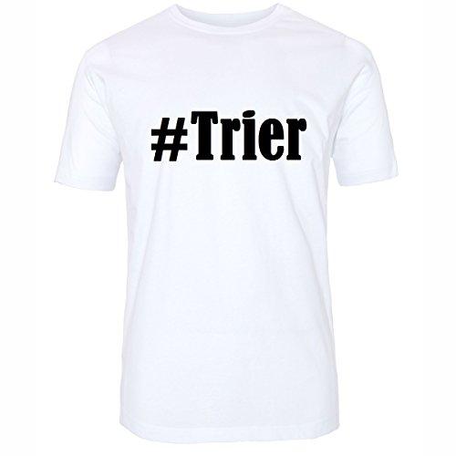 T-Shirt #Trier Größe 4XL Farbe Weiss Druck schwarz
