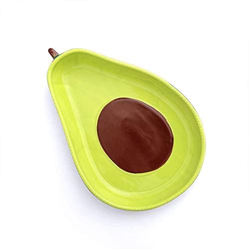dh-4 Vassoio da Portata in Ceramica Mezza spaccata con Avocado, Vassoio da Portata per Salsa Guacamole, Salsa all'avocado, Decorazioni per la casa, 9 Pollici