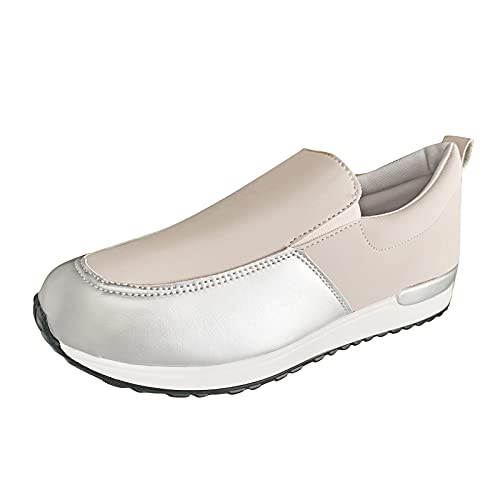 Togethor Zapatos casuales para mujer, cómodos zapatos de plataforma para mujer, puntera redonda, zapatillas para caminar para mujer, beige, 6.5 UK