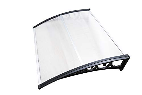 Hengda Vordach für Haustür 150 x 100 cm Transparent Polycarbonat Pultvordach Haustürvordach Überdachung 5 mm, PP Halterung,Türdach für draußen Sonnenschutz Regenschutz