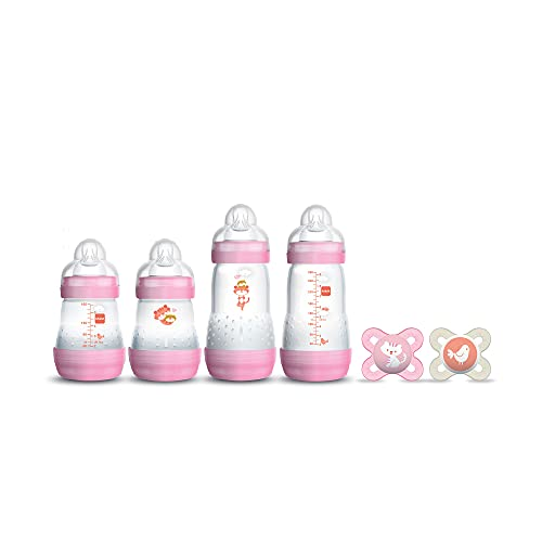 """MAM Newborn Essentials """"Feed & Soothe"""" Set (6-Piece), Easy Start Anti-Colic Baby Bottles, 0-2 Month Pacifier, Baby Shower Gifts for Baby Girl, Pink"""