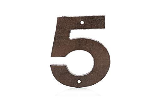 Números para Casas de Hierro Fundido 0-9 (5, Marrón)