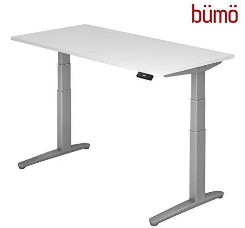 bümö® massiver elektrisch höhenverstellbarer Designer Schreibtisch | ergonomischer Stehschreibtisch | elektrischer Bürotisch | Büroschreibtisch höhenverstellbar mit Memoryfunktion in weiß 160 x 80 cm