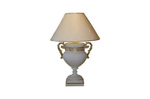Tischlampe Tischleuchte Pokallampe Creme-Weiß-Gold Höhe: 80cm