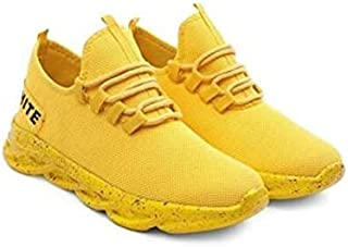 KT Traders Solid Reguler Mesh Lace-Up On Style for Easy Sport Shoes (KT Traders-26-Yellow-7)