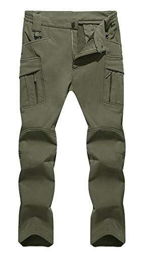 TACVASEN Men's Insulated Outdoor Climbing Pants Softshell Warm Fleece Mountain Ski Pants Army Green,US 40