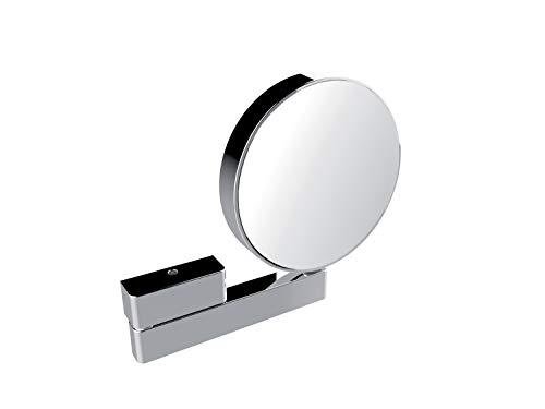 Emco Kosmetikspiegel rund, Badspiegel, mit Gelenkarm, 3-Fach und 7-Fach vergrößert, Spiegel beidseitig – 109500117, Chrom