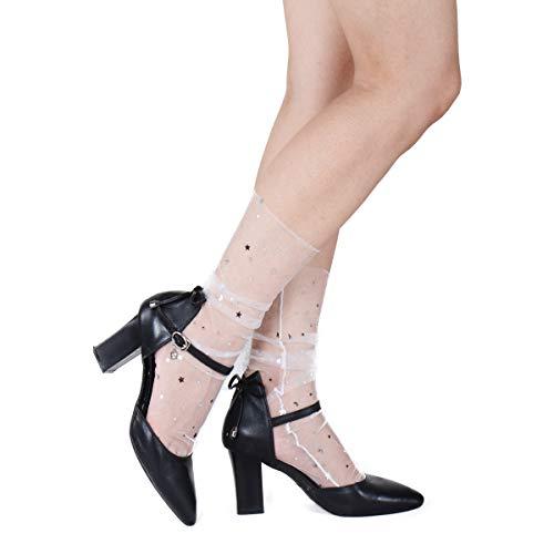 Modische durchscheinende Socken für Damen, süße Glitzer und Sterne, transparent, Tüll, Netz, Knöchel, Spitze, Sternenhimmel, verziert, Slouch-Socken -  -  X-Large