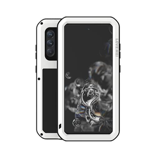 LOVE MEI Funda para Samsung Galaxy S21 FE, Heavy Duty al Aire Libre de Armadura Metal Estuche Protectora Carcasa Antigolpes Impermeable a Prueba de Polvo Cubierta con Vidrio Templado (Blanco)