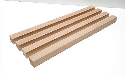 4 Stück Tischfüße Kanthölzer 3x3cm stark Buche massiv. Kantholz Leisten drechseln bastel Holz. Sondermaße. (3x3x30cm lang)