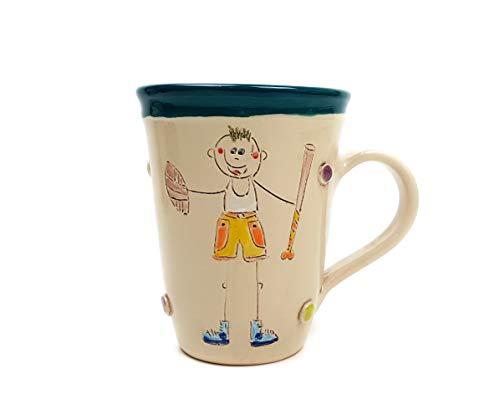 UNGARNIKAT Keramik Schnucki Junge Becher/Tasse Cream mit handbemalten Baseballer Motiv 0,45 L Dunkelblau