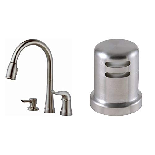 Delta Faucet Kate Single-Handle Kitchen Sink Faucet with Pull Down Sprayer, Soap Dispenser and Magnetic Docking Spray Head, Stainless 16970-SSSD-DST & Faucet 72020-SS Accessory Air Gap, Stainless