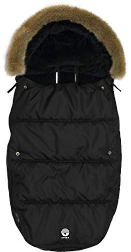 Dooky Footmuff Black Furry Large Baby Sac pour poussette et siège auto (6-36 mois, hiver, résistant à l'eau et au vent, pour harnais 3 et 5 points), Noir 126212 Petit Single