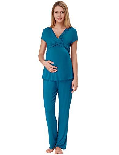 Zexxxy Damen Pyjamas Umstandsmode Stillnachthemd Schlafanzug Kurzarm Hausanzug mit Stillfunktion Pfauenblau S