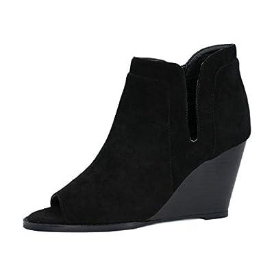 Amazon - Save 50%: Tihoo Women's Wedge Ankle Boots Open Toe Side Zipper Slip on Booties