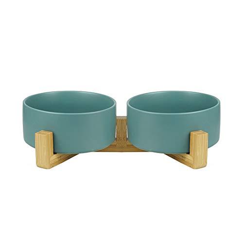 HCHLQLZ Grün Keramik Hundenapf Futternapf Fressnapf Napf für Hund Katzen mit Massivholz Ständer(2 Stück)