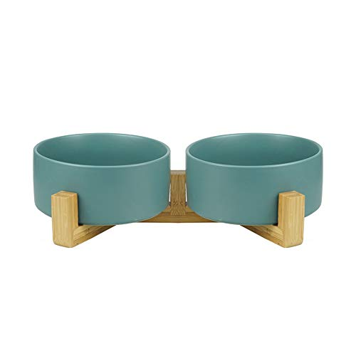 HCHLQLZ Green Ceramic Cat Bowl with Wood Stand No Spill Pet Food Water Feeder Cats Small Dogs Set of 2