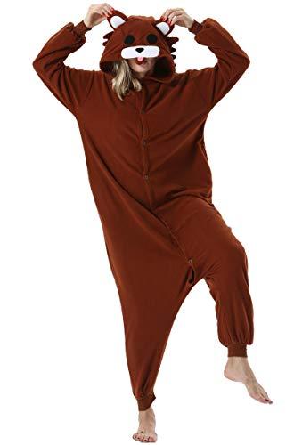 Pijama Animal Entero Unisex para Adultos con Capucha Mujer Hombre Cosplay Pyjamas Ropa de Dormir Traje de Disfraz para Festival de Carnaval Halloween Navidad Brown Oso para Altura 148-187cm