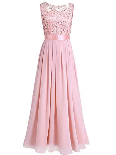 iEFiEL Damen Kleid Festliche Kleider Brautjungfer Hochzeit Cocktailkleid Chiffon Faltenrock Elegant Langes Abendkleid Partykleid Perle Rosa 40