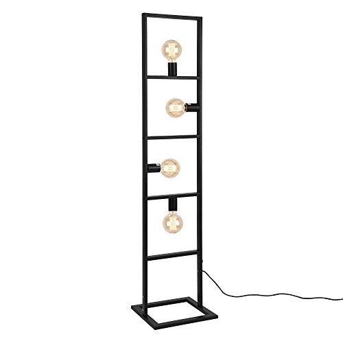 Stehleuchte 142,5 cm Design stylisch schwarz metall home Dekoration Standleuchte Wohnzimmer Schlafzimmer Lampe