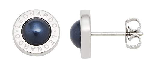 Jewels by Leonardo Damen-Ohrstecker Matrix Perla Nero, Edelstahl mit blauschwarzen Perl-Cabochons und Leonardo-Gravur, Länge 10 mm, 016684