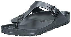 commercial Birkenstock Unisex Gizeh Essentials EVA Sandals, Metallic Anthracite, 40 R EU birkenstocks for men
