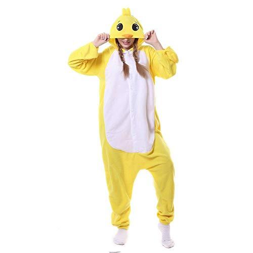 FZH Pijama Pijamas de Pollo Amarillo Kigurumi Cosplay Onesies Adultos Mono Traje de Dibujos Animados para Halloween Carnaval Pijamas Mujer Pijama-Pollo_L
