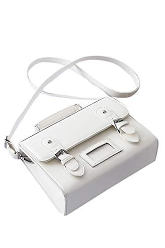 Japanese School Bag Handbag Satchel for Women PU Leather Vintage JK Uniform Shoulder Bag Crossbody Messenger Bag, White