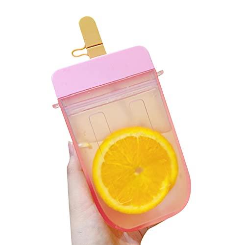 Botella Agua Con Pajitas Tazas Para Niños Aisladas De Derrames Con Pajita Creativo Botella Reutilizable Forma De Fruta Botella Portátil De Paja Grado Alimenticio PP Plástico Para Deportes Y Aire Libr