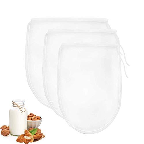 Ealicere 3 Stück Verschiedene Größen Nussmilchbeutel, hafermilch Beutel, siebbeutel, Passiertuch,für vegane Nussmilch Mandelmilch Haselnussmilch Feinmaschiges Passiertuch Filtertuch