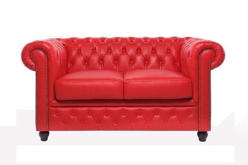 The Chesterfield Brand -Sofá Chester Brighton Rojo - 2 plazas - Hecho artesanal en cuero natural