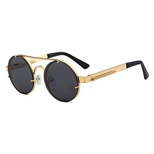 AJIAO Gafas de Sol Gafas De Sol De Lente Roja Hombres Gafas De Sol Vintage Steampunk Redondas para Mujer Top Plano De Metal Plateado Dorado Uv400