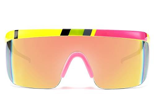 FEISEDY Escudo Gafas de Sol de Plano Top Sin Marco Gran Tamaño para Hombre Mujer B2658