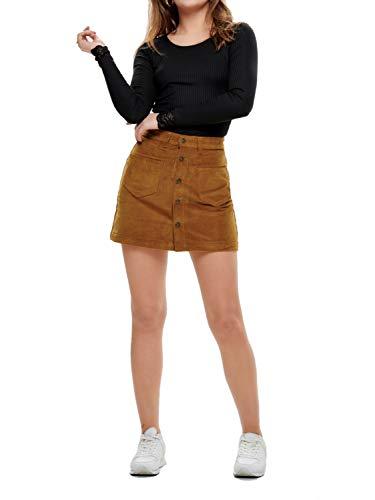 ONLY Damen Onlamazing Hw Corduroy Skirt Pnt Noos Rock, Braun (Rustic Brown Rustic Brown), S 32L EU