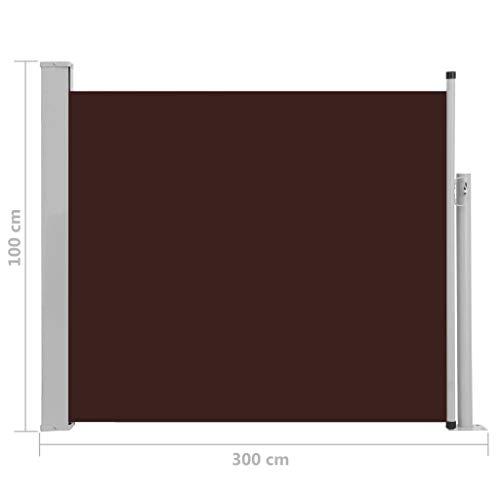 Festnight Store latéral pour Balcon Auvent latéral rétractable de Patio 100x300 cm Marron