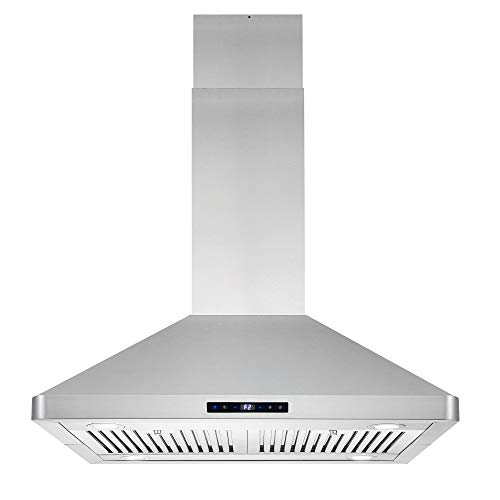 Cosmo COS-63ISS75 Island Range 3-Speed Fan, 380 CFM, Permanent Filters, LED Lights, Soft Touch Controls, Ducted Kitchen Vent Hood Extractor, 30 inch, Stainless Steel