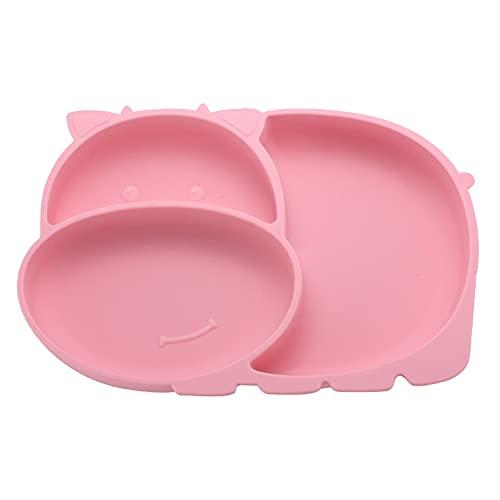 Rysmliuhan Shop Vajilla Bebe Ventosa Plato Bebe Bebé Placa Placas de bebé con succión Placas de succión para niños pequeños Bebé de Silicona Placa Pink,A