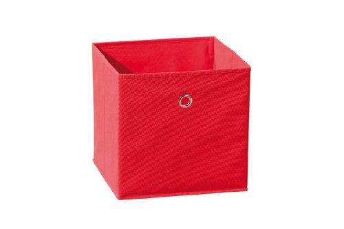 Inter Link Faltkiste Faltbox Faltbare Aufbewahrungsbox mit Metallöse aus Stoff in Rot