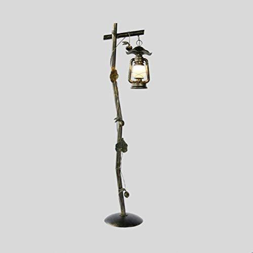XYUN woonkamer, hotel, kamer, staande lamp klassieke ijzeren vloerlamp café lamp glazen lampenkap petroleumlamp voetschakelaar E27 162 x 39 cm