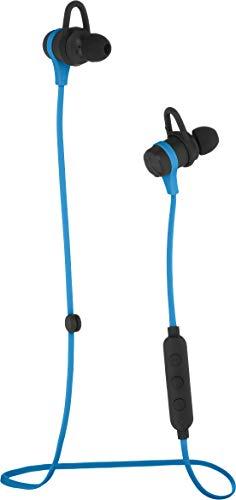 Amazon Basics - Auriculares inalámbricos con Bluetooth, ideales para ejercicio físico, con micrófono, azul