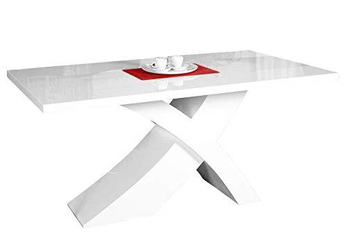 SEDEX Nolana Esszimmertisch 140-200x90 cm/Auszugtisch/Esstisch/Tisch/Holztisch Hochglanz weiß