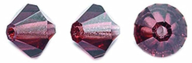 Preciosa 72-Piece Czech Crystal Bicone Beads Set, 6 by 6mm, Light Burgundy
