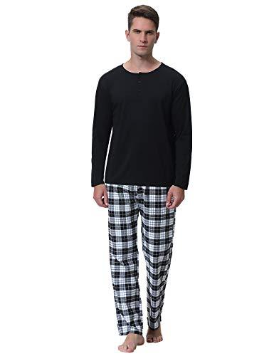 Aibrou Herren Baumwolle Pyjama Set, Winter Warm Langarm Zweiteiliger Schlafanzug, Langarm Shirt mit Kariert Hosen Schwarz S