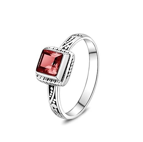 Anillo de plata de ley 925 cubo de sangre rojo rubina piedras preciosas diamante anillos