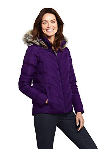 Lands' End Womens Faux Fur Hooded Down Winter Jacket Crystal Amethyst Regular Small