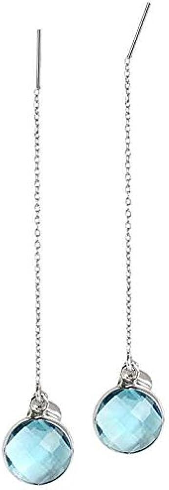 Boccadamo, orecchini saliscendi a catena lunga in bronzo rodiato e cristallo briolette color acquamarina Yoor02