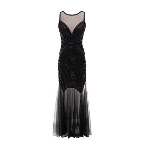 MERICAL Kleid Damen Vintage Jahre Perle Fransen Pailletten Spitze Party Flapper Cocktail Abendkleid